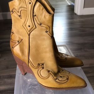 Bcbg yellow leather cowboy boot wedge